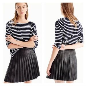 J. Crew NWT Petite Faux Leather Pleated Mini Skirt